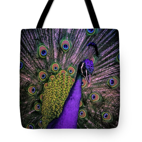 Tote Bag featuring the photograph Peacock In Purple by T A Davies