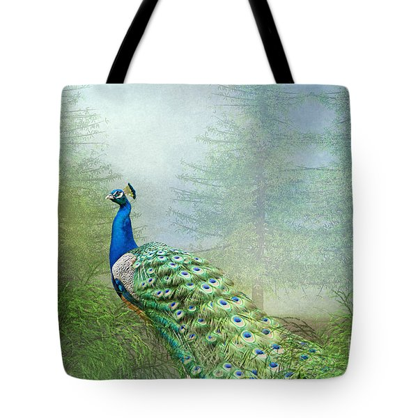 Peacock In The Forest Tote Bag