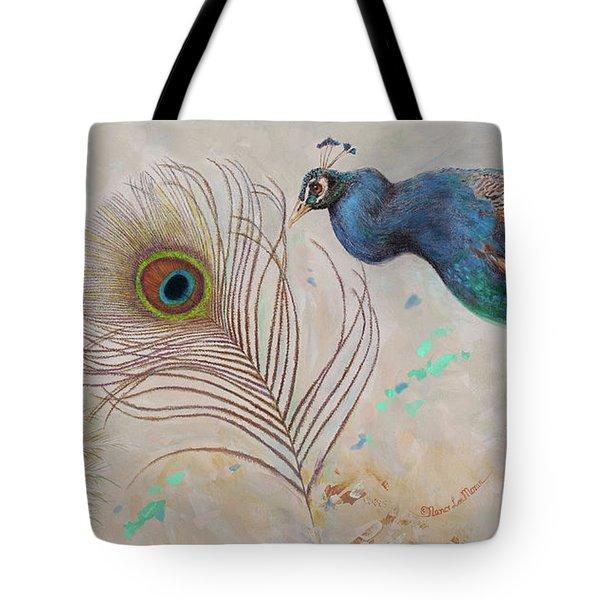 Tote Bag featuring the painting Peacock In Three Views by Nancy Lee Moran