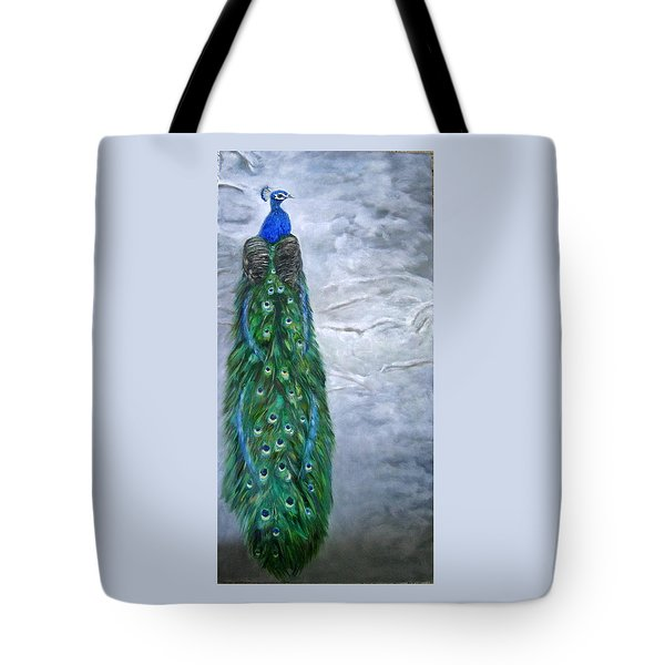 Peacock In Winter Tote Bag