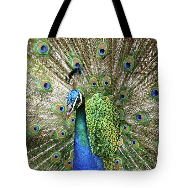 Peacock Indian Blue Tote Bag by Sharon Mau