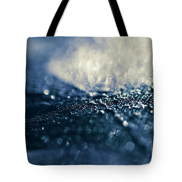 Tote Bag featuring the photograph Peacock Macro Feather And Waterdrops by Sharon Mau