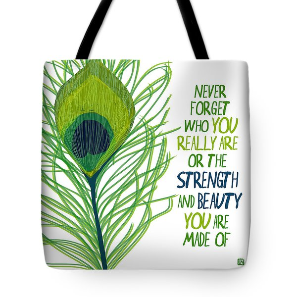 Tote Bag featuring the painting Peacock Never Forget by Lisa Weedn