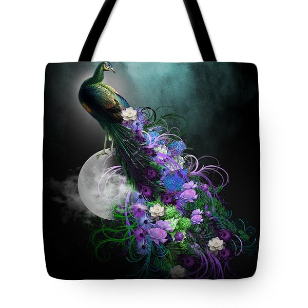 Peacock Of  Flowers Tote Bag