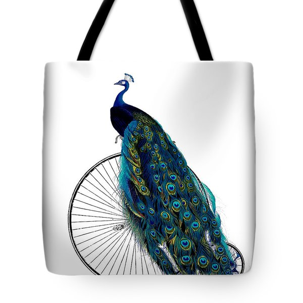 Peacock On A Bicycle, Home Decor Tote Bag