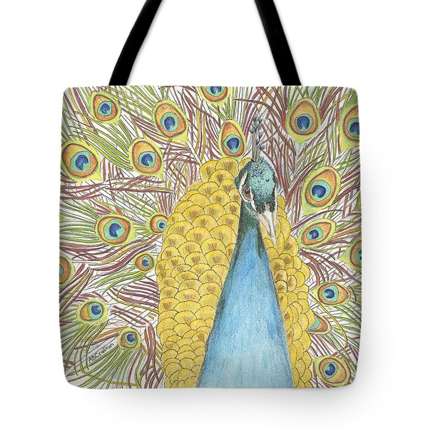 Tote Bag featuring the drawing Peacock One by Arlene Crafton