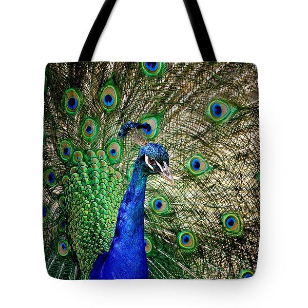 Peacock Open Tail Tote Bag