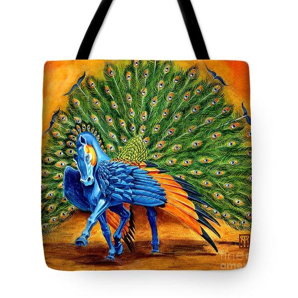 Peacock Pegasus Tote Bag by Melissa A Benson