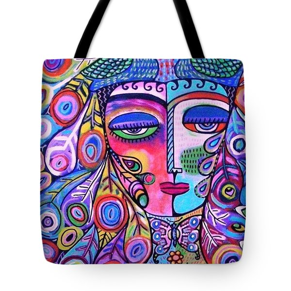 Peacock Pink Butterfly Goddess Tote Bag