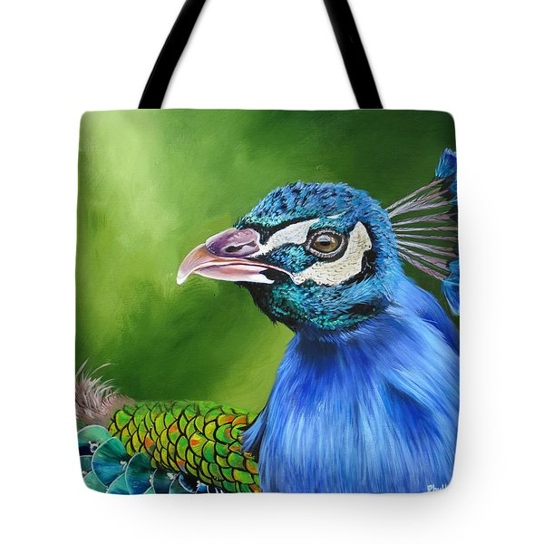 Peacock Profile Tote Bag by Phyllis Beiser
