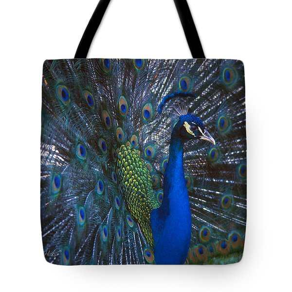Tote Bag featuring the photograph Peacock Splendor by Marie Hicks