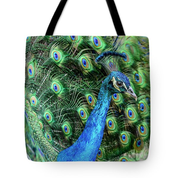 Tote Bag featuring the photograph Peacock by Steven Sparks