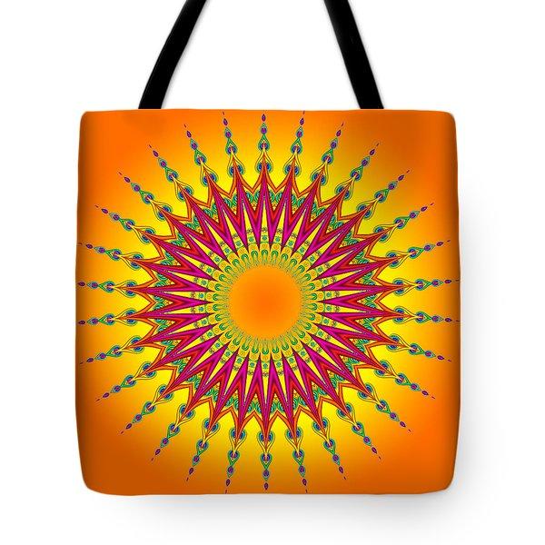Peacock Sun Mandala Fractal Tote Bag