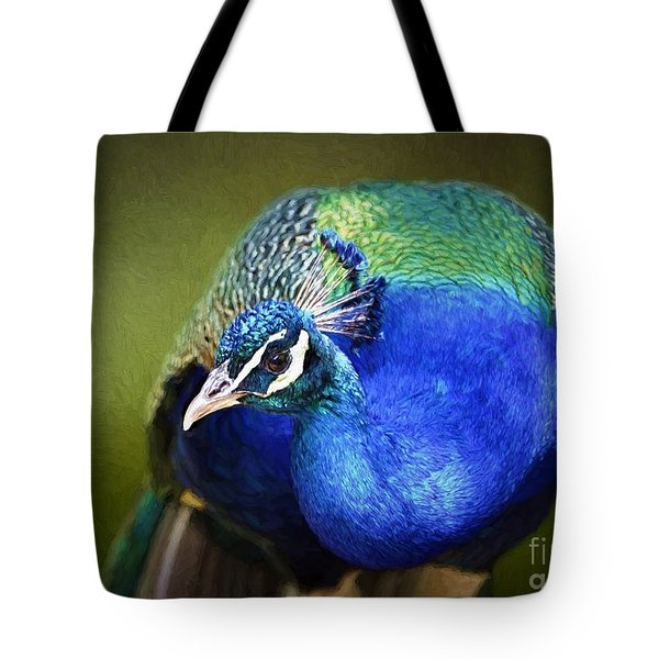 Peacock Tote Bag by Suzanne Handel