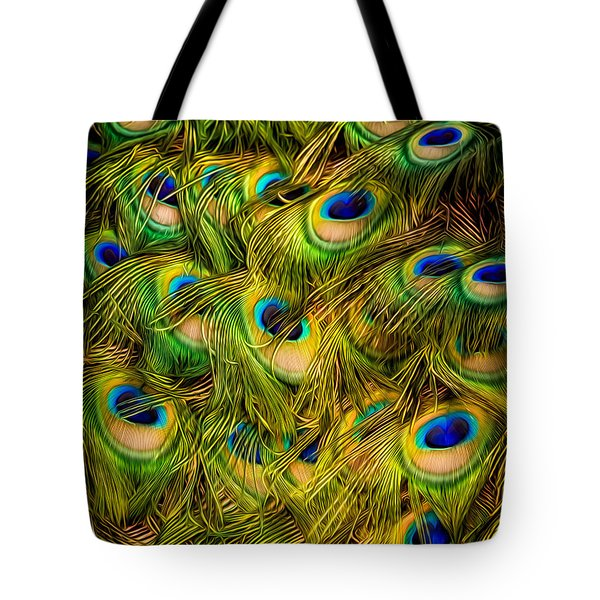 Tote Bag featuring the photograph Peacock Tails by Rikk Flohr