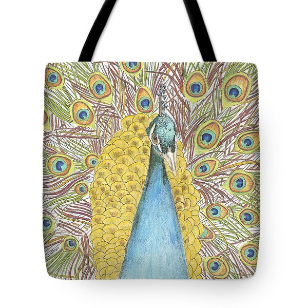 Tote Bag featuring the drawing Peacock Two by Arlene Crafton