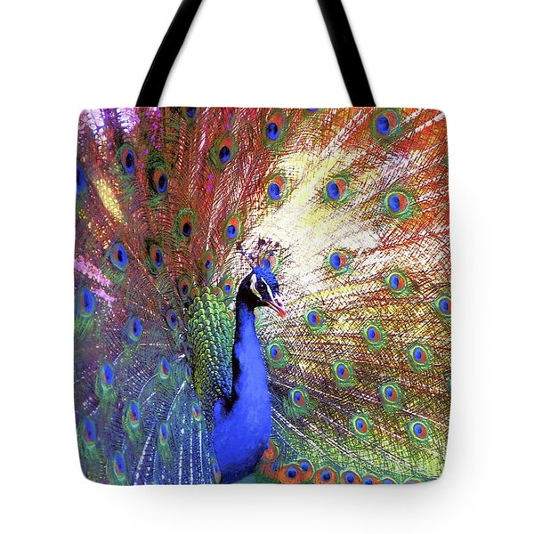 Tote Bag featuring the painting Peacock Wonder, Colorful Art by Jane Small