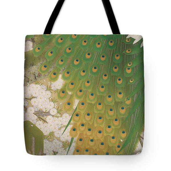 Peacocks And Cherry Tree Tote Bag
