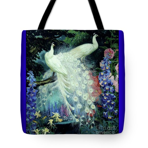 Tote Bag featuring the painting Peacocks And Hollyhocks by Pg Reproductions