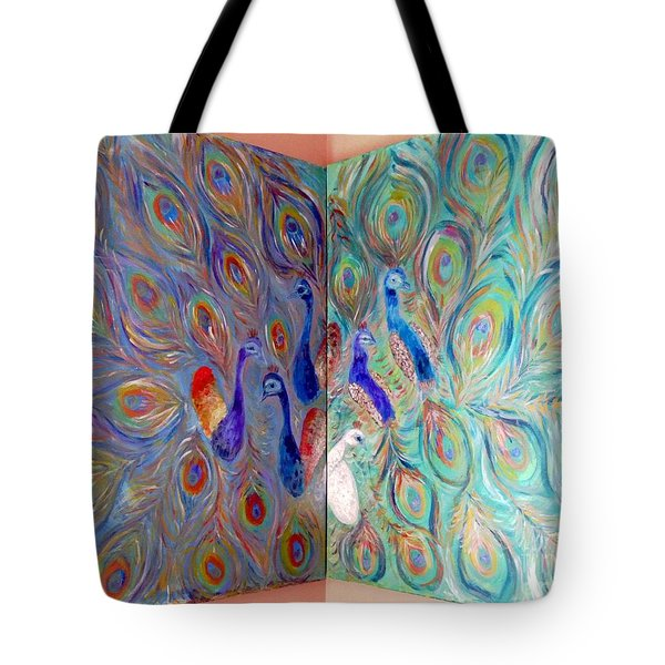 Tote Bag featuring the painting Peacocks Corner by Vicky Tarcau