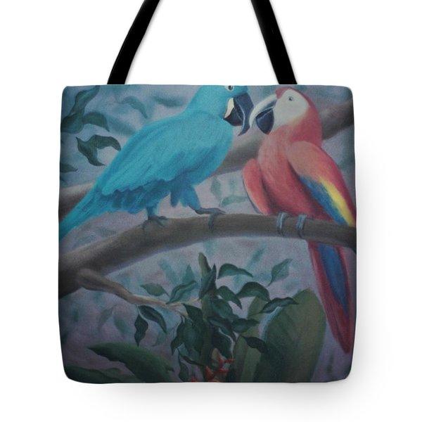 Peacocks In The Jungle Tote Bag
