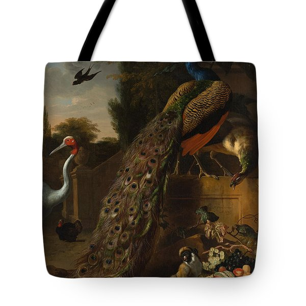 Tote Bag featuring the painting Peacocks by Melchior d'Hondecoeter