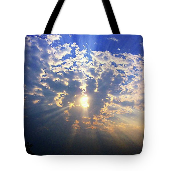Peaking Behind The Clouds Tote Bag