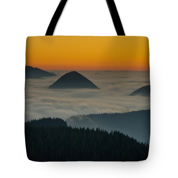 Peaks Above The Fog At Sunset Tote Bag