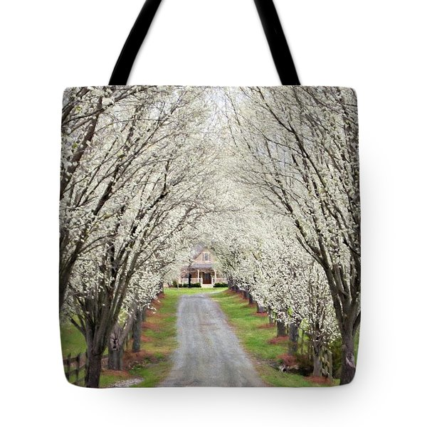 Tote Bag featuring the photograph Pear Tree Lane by Benanne Stiens