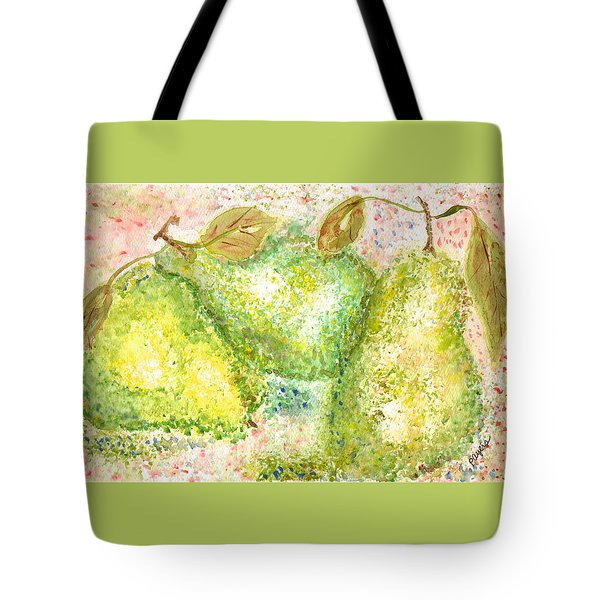 Tote Bag featuring the painting Pear Trio by Paula Ayers