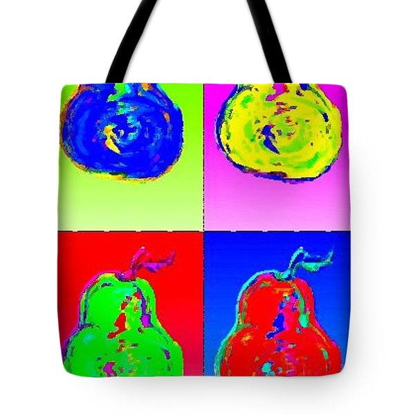 Tote Bag featuring the digital art Pear Warhol Style by Rae Chichilnitsky