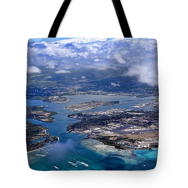 Pearl Harbor Aerial View Tote Bag