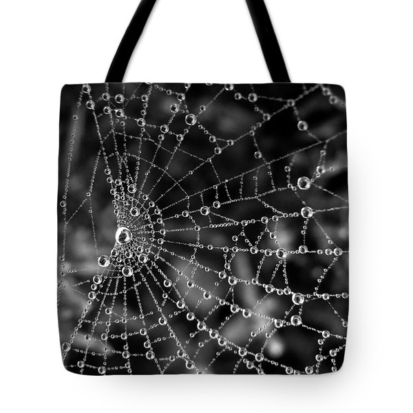 Pearls In Black And White Tote Bag by Misha Bean