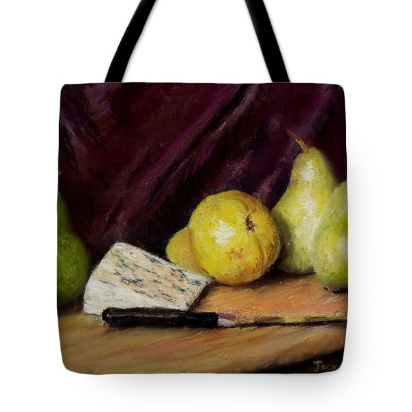 Tote Bag featuring the pastel Pears And Cheese by Jack Skinner