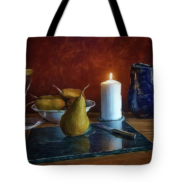 Tote Bag featuring the photograph Pears By Candlelight by Mark Fuller