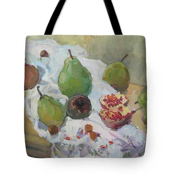 Pears Figs And Young Pomegranates Tote Bag