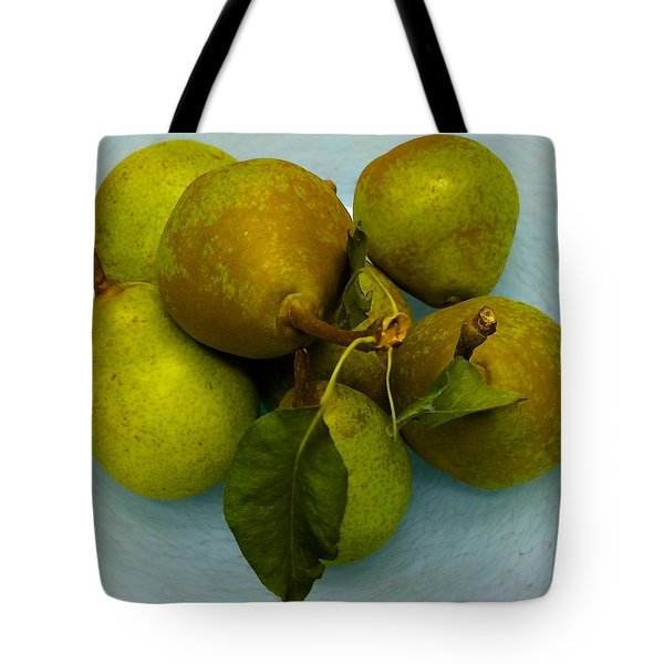 Pears In Blue Bowl Tote Bag