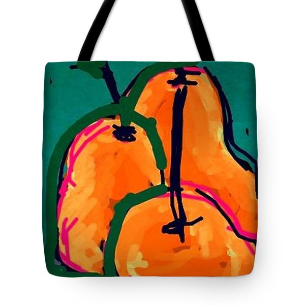 Tote Bag featuring the greeting card Pears by Rae Chichilnitsky