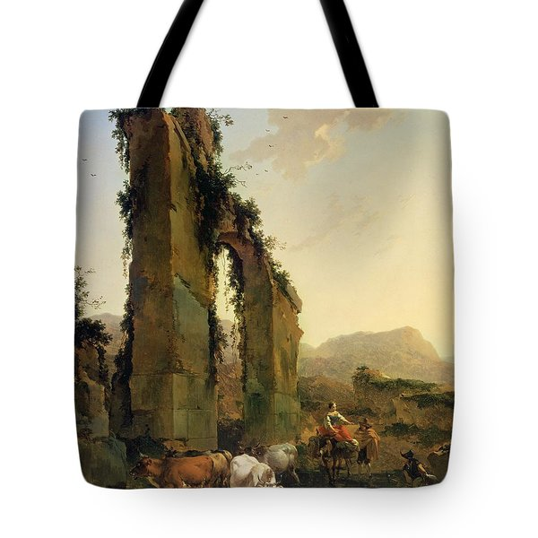 Peasants With Cattle By A Ruined Aqueduct Tote Bag by Nicolaes Pietersz Berchem