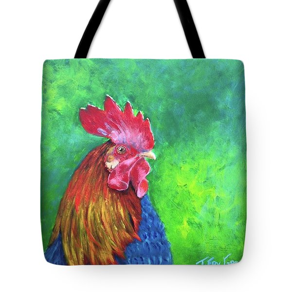 Morning Rooster Tote Bag by T Fry-Green