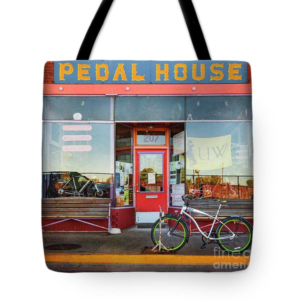 Tote Bag featuring the photograph Pedal House Of Laramie by Craig J Satterlee