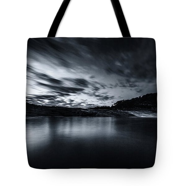 Peddernales Falls Long Exposure Black And White #1 Tote Bag by Micah Goff