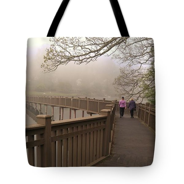 Pedestrian Bridge Early Morning Tote Bag