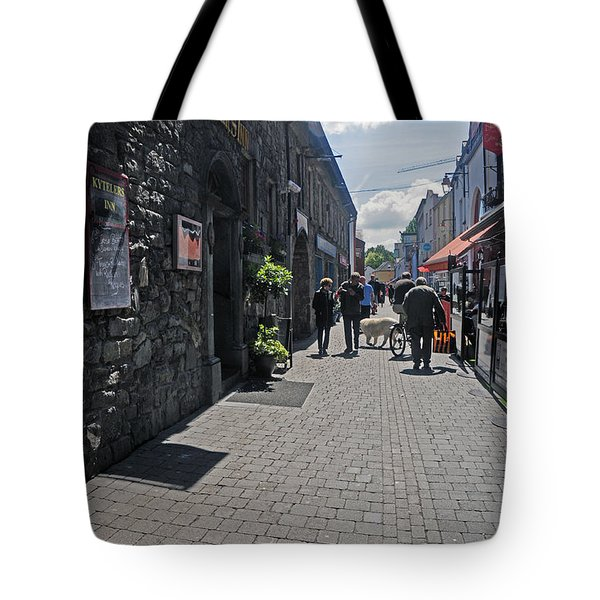 Pedestrian Street In Kilkenny Tote Bag by Cindy Murphy - NightVisions