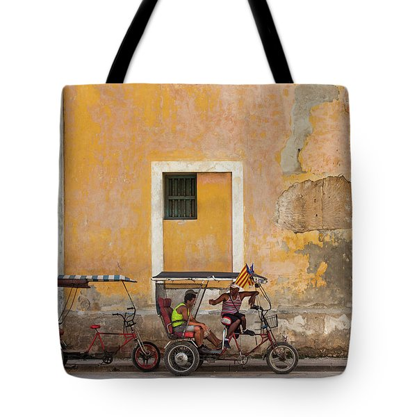 Tote Bag featuring the photograph Pedicabs At Convento De Santa Clara Havana Cuba by Charles Harden