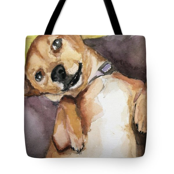 Pedro The Chi-weenie Tote Bag by Rachel Hames
