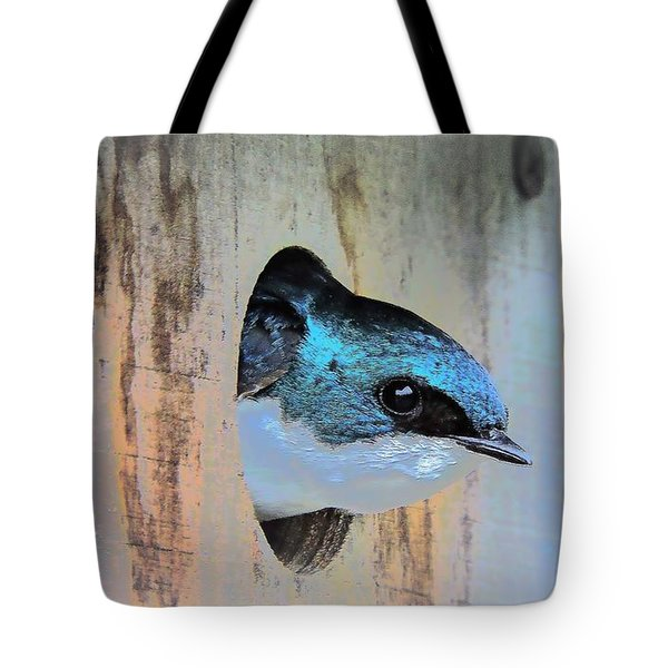 Peek-a-blue Tote Bag