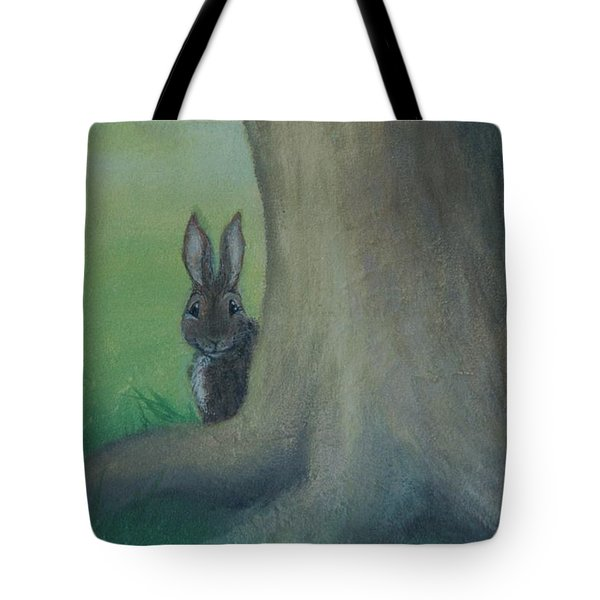Peek A Boo Behind The Tree Tote Bag