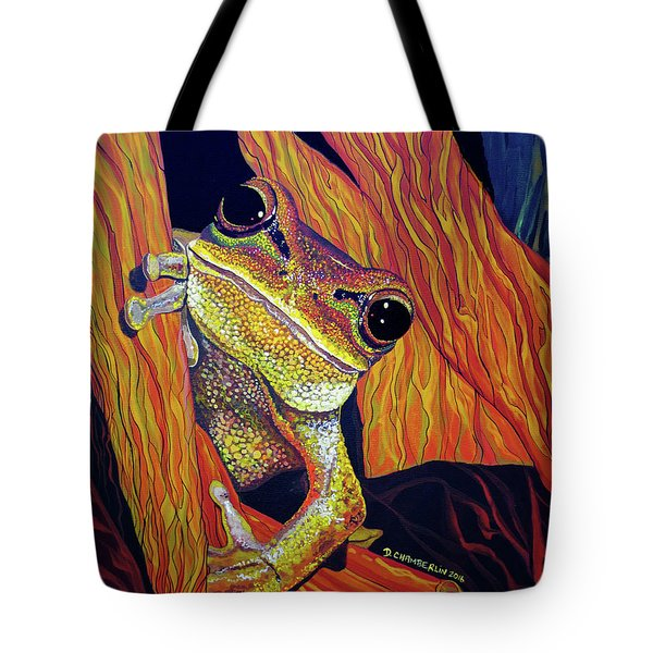 Tote Bag featuring the painting Peek A Boo by Debbie Chamberlin
