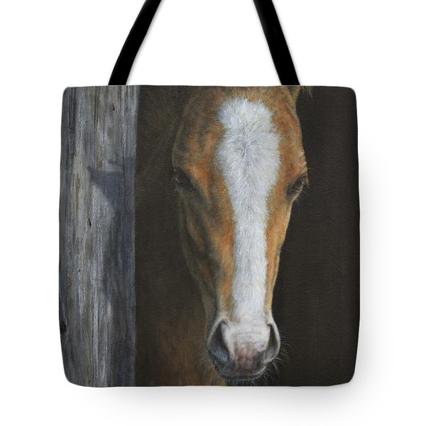 Tote Bag featuring the painting Peek A Boo by Kim Lockman